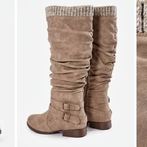 JustFab Shoes - NEW Justfab Taupe Pilar Sweater Cuff Boots